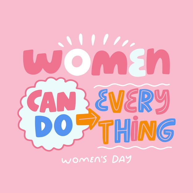 Lettering concept for womens day Free Vector