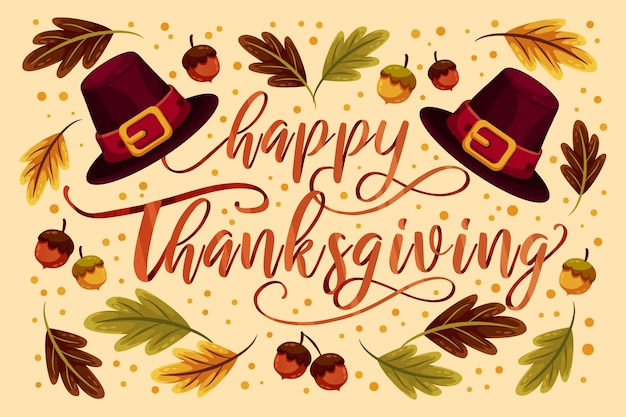 Lettering design happy thanksgiving day Free Vector