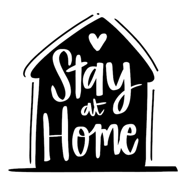 Lettering design stay at home Premium Vector