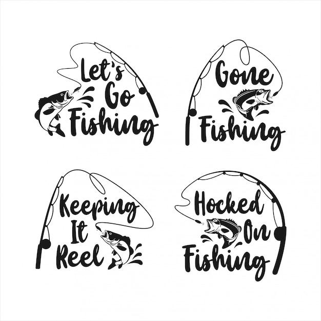 Lettering fishing logo   design collection Premium Vector