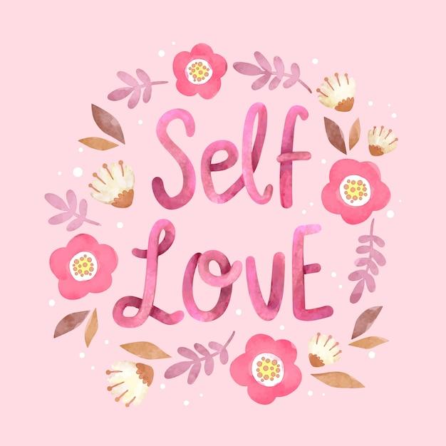 Scritte fiori amore per se stessi Vettore gratuito