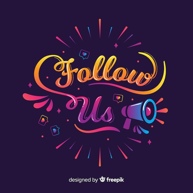 Lettering follow us Free Vector