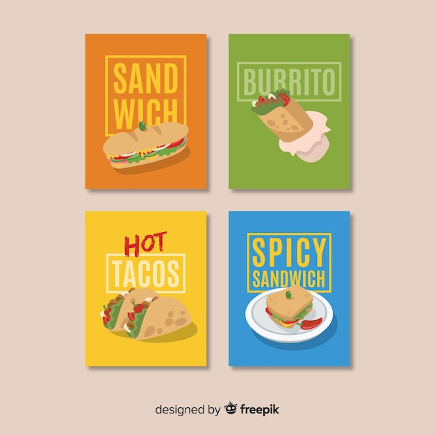 Lettering food card collection Free Vector