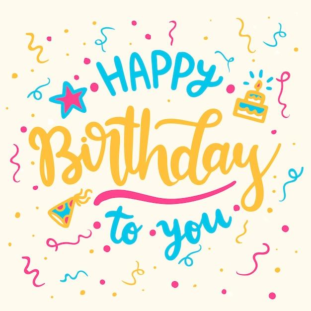 Lettering happy birthday Free Vector