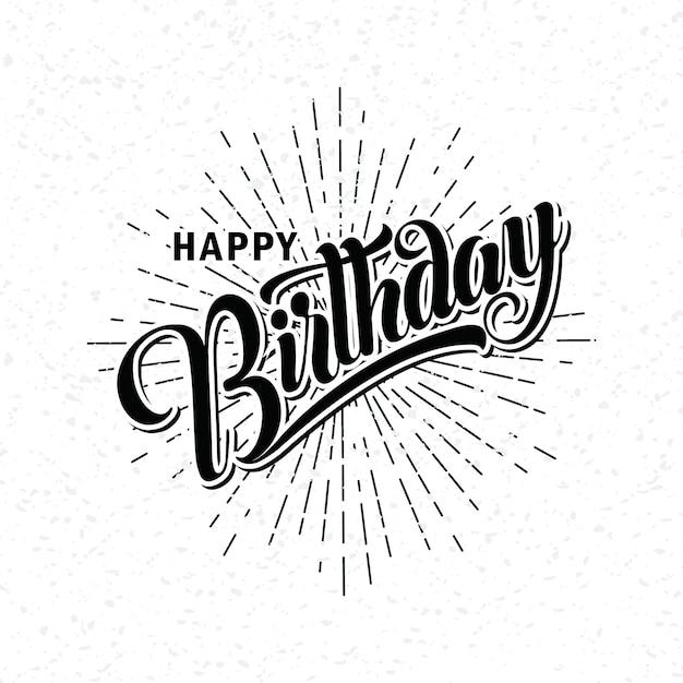Lettering of happy birthday Premium Vector