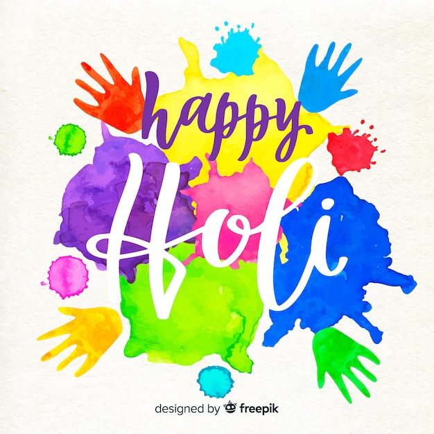 Lettering happy holi Free Vector