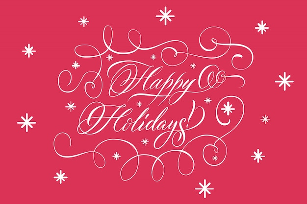 Lettering happy holidays white on red Free Vector