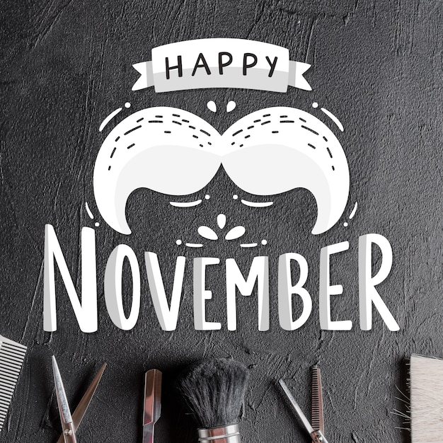 Lettering happy movember with moustache Free Vector