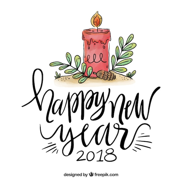 Lettering Happy New Year 2018 With Candle Free Vector