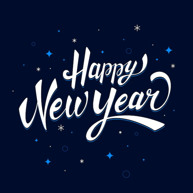 Lettering happy new year 2020 background Free Vector