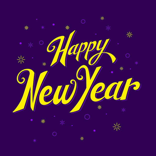 Lettering happy new year 2020 wallpaper Free Vector