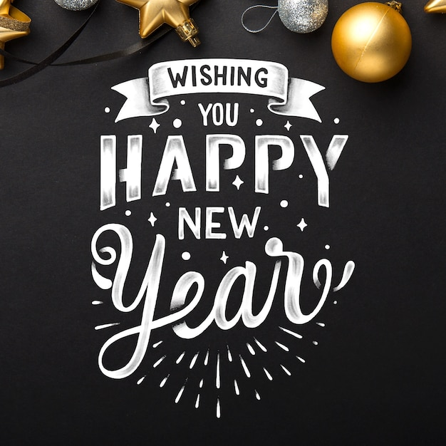 Lettering happy new year 2020 wallpaper Vector | Free Download