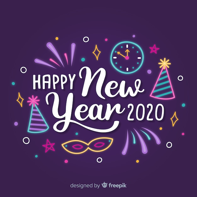 Lettering happy new year 2020 with party hats and clock Free Vector
