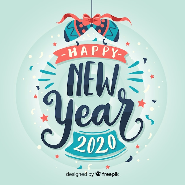 Free Vector Lettering Happy New Year 2020