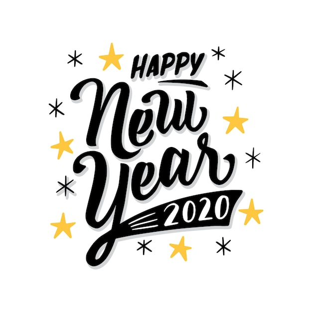 Lettering happy new year 2020 Free Vector