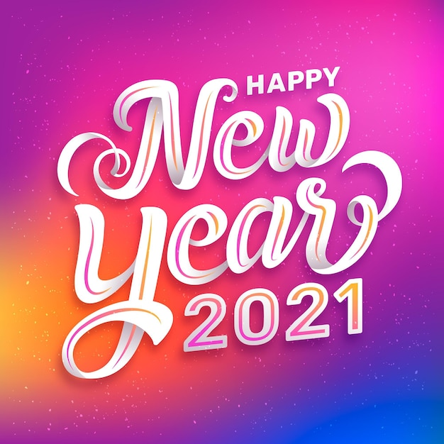 Lettering happy new year 2021 Free Vector