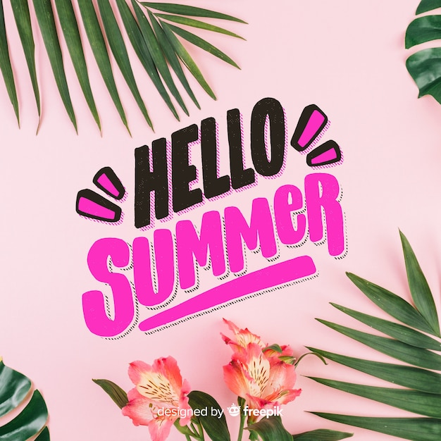 Lettering hello summer Free Vector