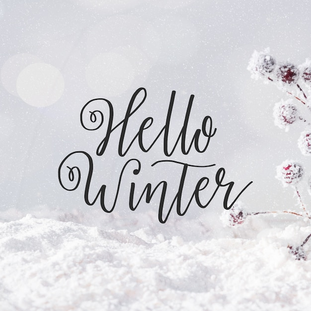 Lettering hello winter Free Vector
