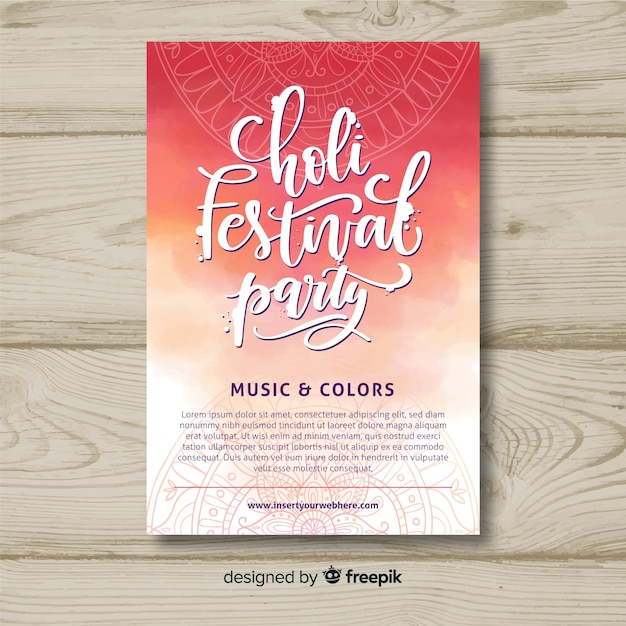 Lettering holi festival party poster Free Vector
