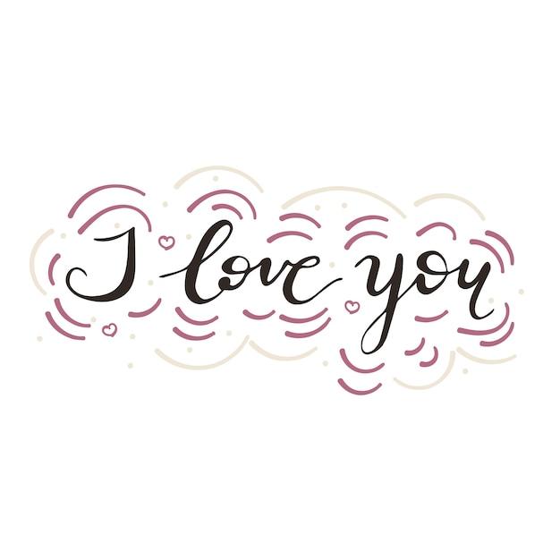 Lettering I love you. Vector illustration. Premium Vector