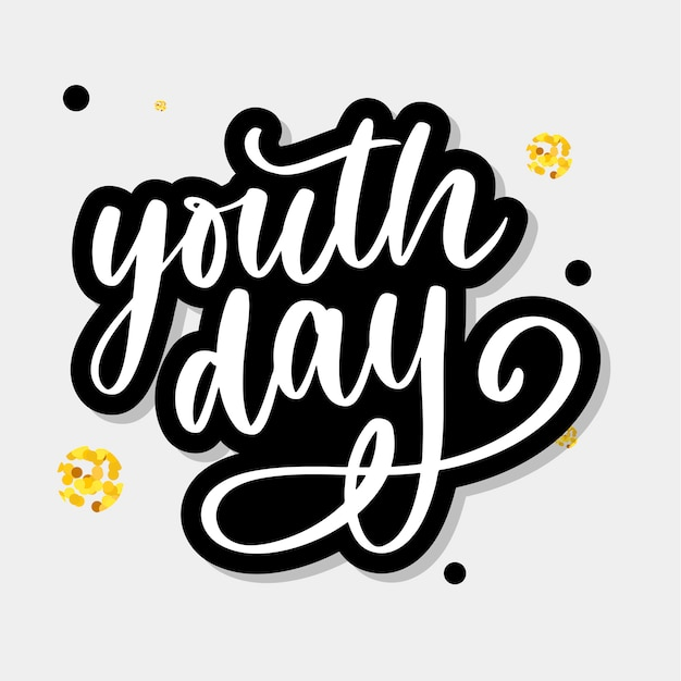 Lettering of international youth day yellow background slogan Premium Vector