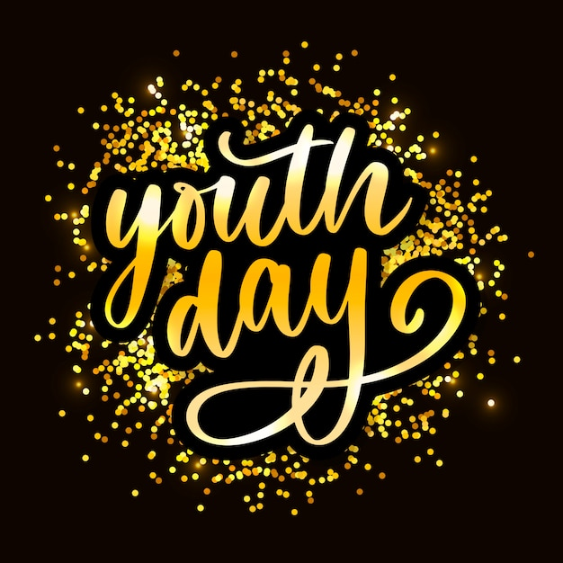 Lettering of international youth day yellow Premium Vector