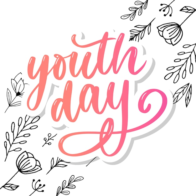 Lettering of international youth day Premium Vector