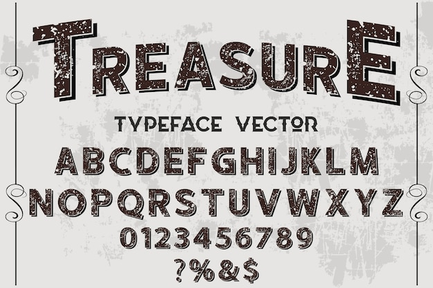 Lettering label design treasure Premium Vector