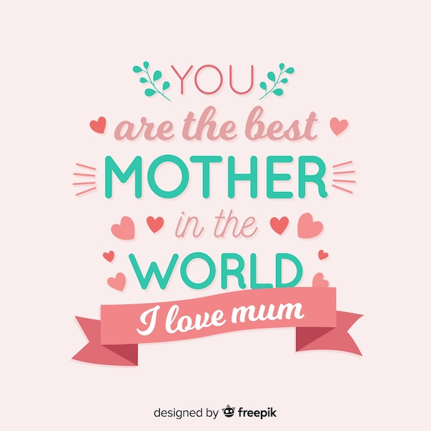 Lettering mother's day background Free Vector