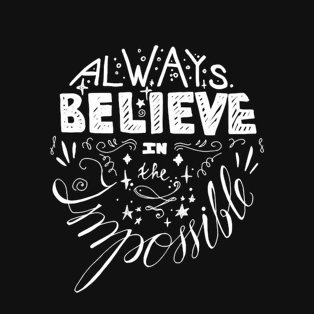 Lettering motivation poster. quote about dream and believe. Premium Vector