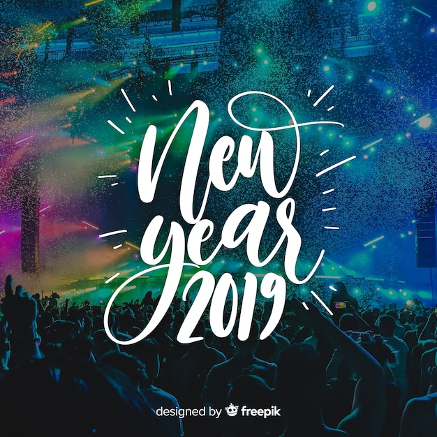 Lettering new year 2019 Free Vector
