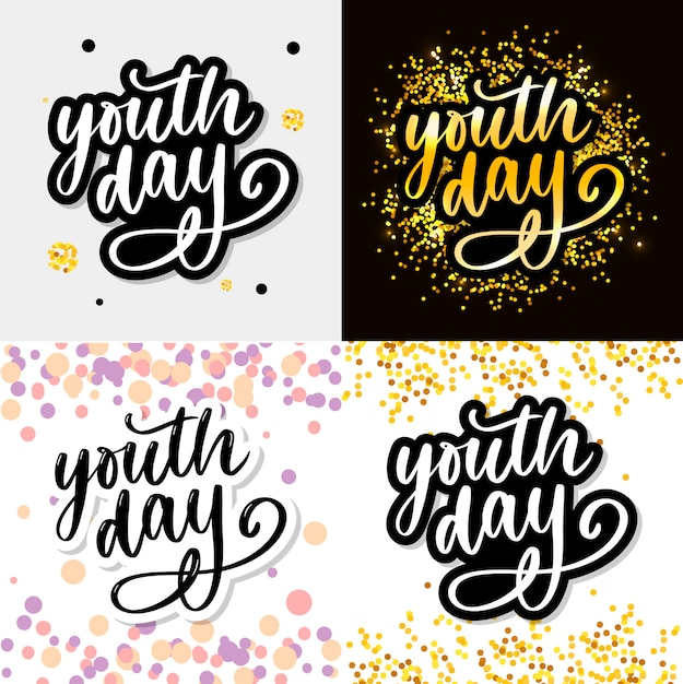 Надпись международного дня молодежи на желтом фоне слоган Premium векторы