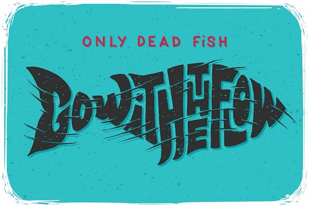 Плакат с надписью рыбы Бесплатные векторы