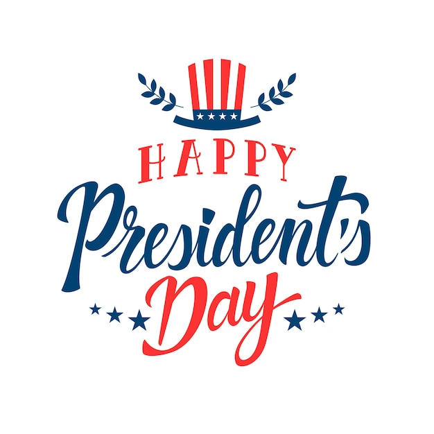Lettering president's day with hat Free Vector