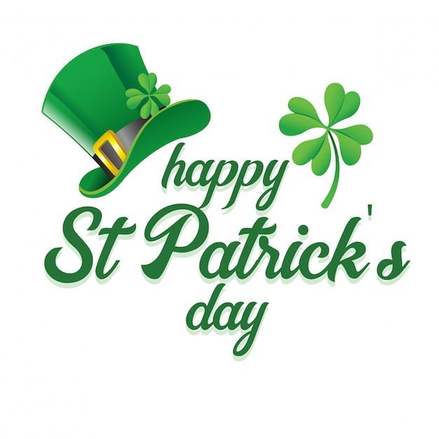 Lettering of saint patrick's day greeting with hat and shamrock Premium Vector