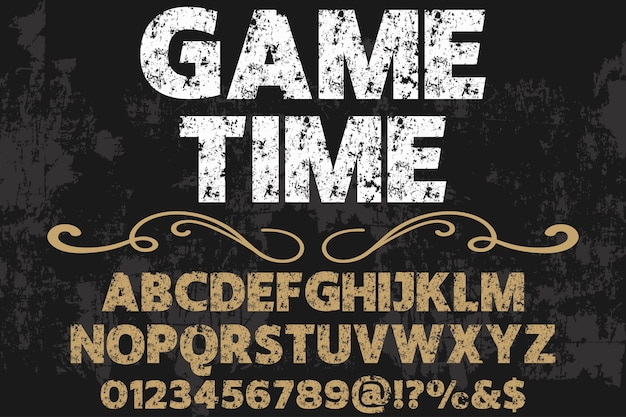 Lettering shadow effect typography design game time Premium Vector