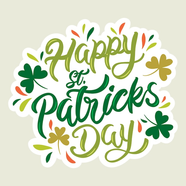 Lettering st. patrick's day with clovers Premium Vector
