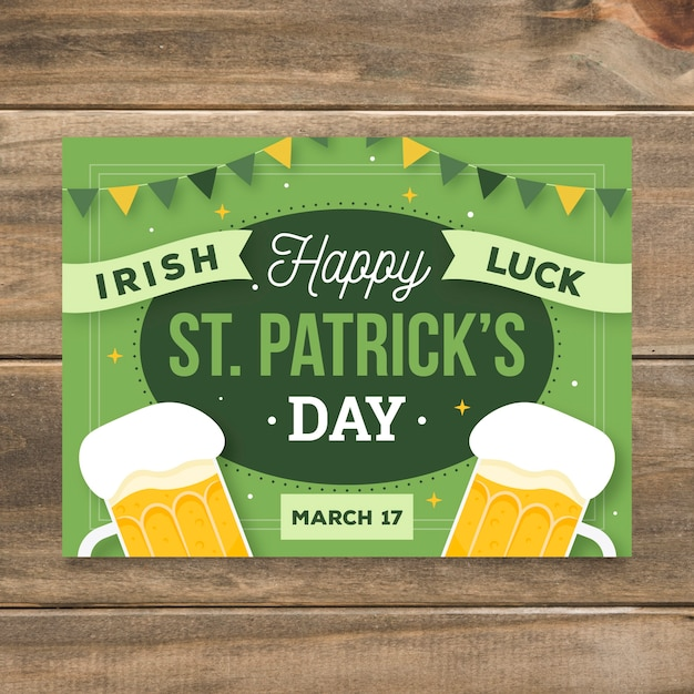 Lettering st patricks day poster template Free Vector