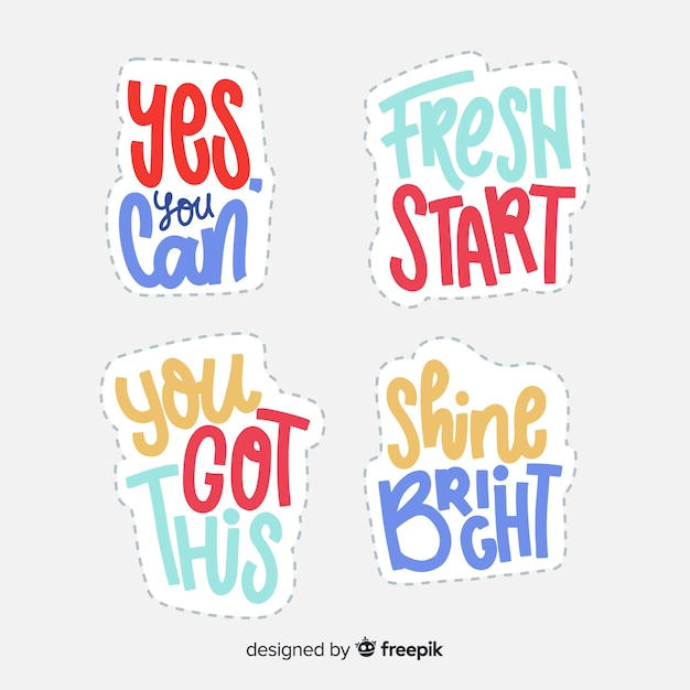 Lettering stickers with motivational quote Free Vector