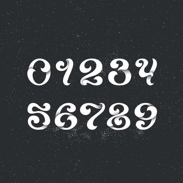Надпись стиль арабскими цифрами. набор фигур, чисел с декоративными элементами вихря. Premium векторы