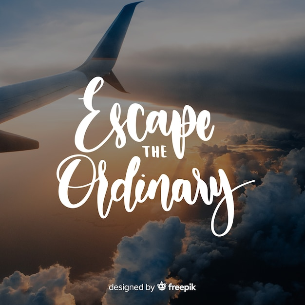 Lettering travel with photo Free Vector