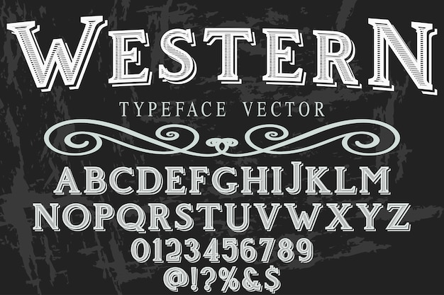 Lettering typeface western Premium Vector