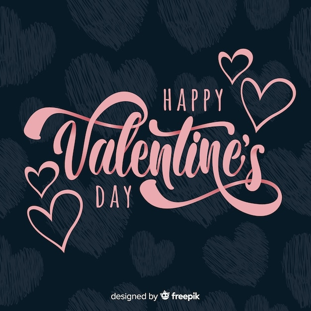 Lettering valentine's day background Premium Vector