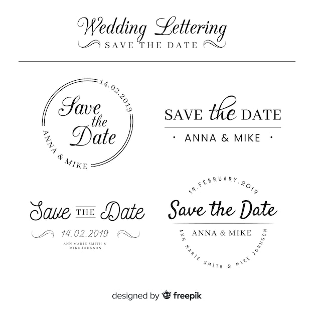 Lettering wedding collection Free Vector