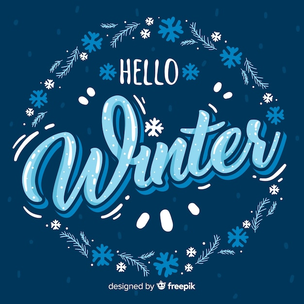 Lettering winter background Free Vector