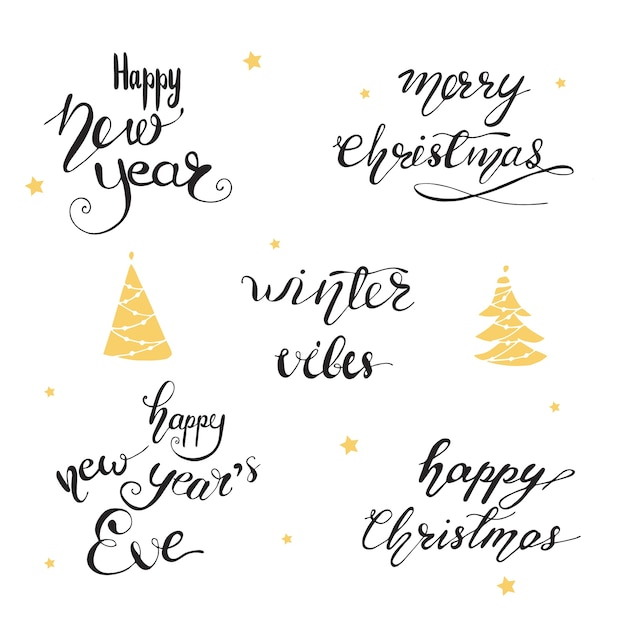 Christmas Card Phrases.Lettering With Christmas Greeting Phrases Vector