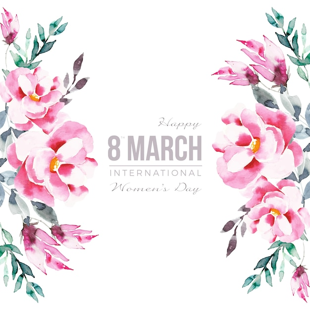 Lettering with colourful watercolor flowers Free Vector