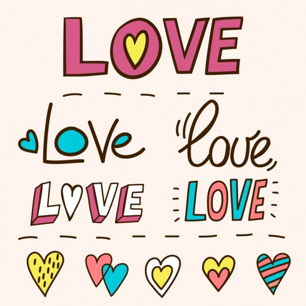 Lettering With The Word Love Hand Drawn Free Vector
