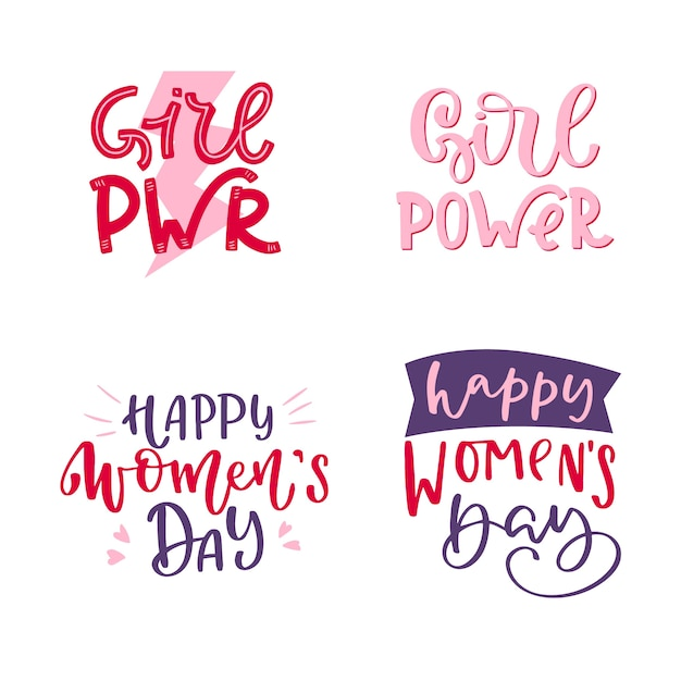Lettering women's day badge collection Free Vector