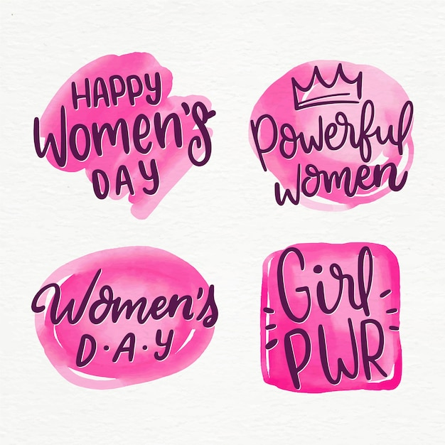 Lettering women's day label collection Free Vector